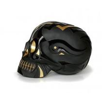 Alcancía En Forma De Craneo Tatoo Negro Dorado Skull