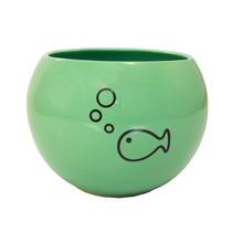 Vasija Contenedora En Forma De Pecera De Ceramica Color Aqua
