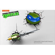 Combo Leonardo Cabeza Katana Lamparas Tortugas Ninja 3d Arma