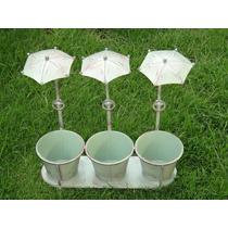 Maceta Triple Con Paraguas Vintage Verde Macetero Plantas