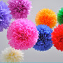 10 Lamparas De Papel Pom-pom - Pompones Para Decoración