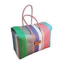 Bolsa Tejida Grande Con Tapa Diseño Moderno Multicolor