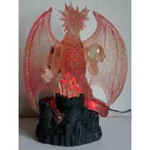 Escultura De Dragon Rojo Con Luz Mystical Creations
