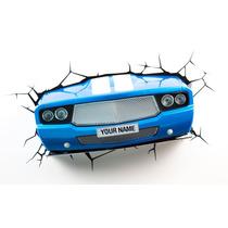 Lampara Para Pared En Forma De Auto Muscle Azul 3d Deportivo