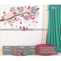 Vinilo Decorativo Rama-i03 Árbol, Pájaro, Flores Y Corazones