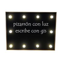 Pizarrón Negro Con Luz Led De Pilas Letrero Mesa Fiesta Bar