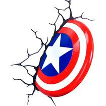 Lampara Para Pared 3d Escudo Capitan America Marvel Disney
