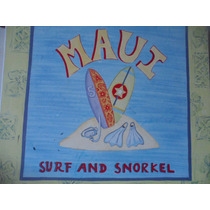 Placa Madera Hawaii Maui Surf By Elizabeth Brighton Vintage