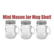 Mini Mason Jar Shot Tarro De Vidrio Asa Y Tapa Fiesta Bar