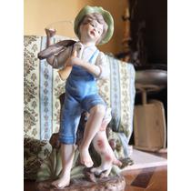 Figura De Niño Con Perro Fabricada En Porcelana Coreana