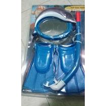 Aletas 3 A 6 Años Visor Snorkel Buceo Natacion Kit Azul