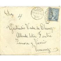 L25-carta Antigua Circulada 1918 Con Timbre De Madero-hm4
