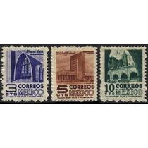 0773 Arquitectura 1° E Serie 3c 5c 10c Mint L H 1950