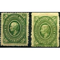 1154 México Hidalgo Placa #(1,2) Verde 2 Piezas Nuevas 1884