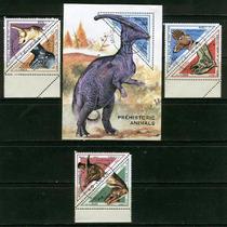 Dinosuarios Serie 6 Sellos Y Hoja Souvenier Triangulares Wow