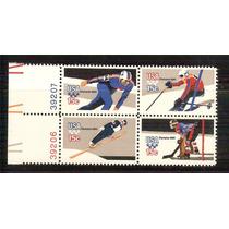 1980 Estados Unidos Olimpiadas Invierno Block Deportes Mnh