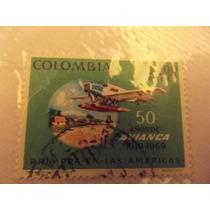 Timbre Postal 50 Años De Avianca 1919-1969 Colombia