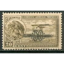 Sc C46 Año 1932 Escudo Y Avion Perf 12 Mnh 30 C Sobre 20c