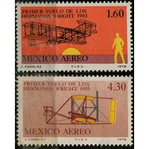 1098 México Primer Vuelo Wright 3 Sellos Aéreo Mint N H 1978