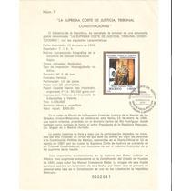 Hoja Primer Dia Estampilla Suprema Corte De México 1988