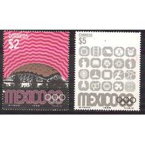 Olimpíada México 68 Ordinarios 2 Sellos Estadio Símbolos Mnh