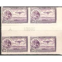 1930 32 Escudo Aeroplano Block 4 Puente Gutter 10c Y Folio
