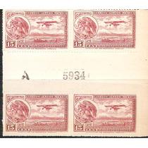 1930 32 Escudo Aeroplano Block 4 Puente Gutter 15c Y Folio