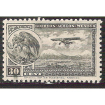 1929 Escudo De Armas Y Aeroplano Sello 30c. Sello Mnh