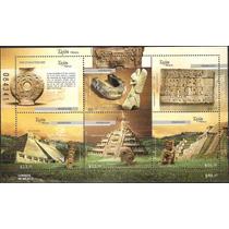 2009 Tajín México Arqueología Unesco Hoja Souvenir 5 Sellos