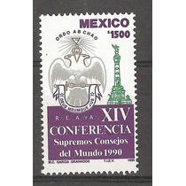 Supremos Consejos Mundo Masón 1990 Estampilla México