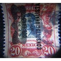 Estampilla Mex.20 Ctvs. Abasolo, 1910 C/doble Resello
