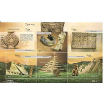 Arqueologia Tajin 6 Estampillas Hojita Souvenir 2009 Dvn