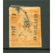 Sc 23 Año 1866 Aguila V Periodo 2 Reales Dist 51 Guadalajara