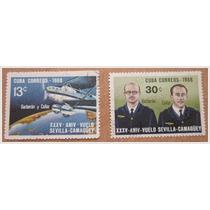 2 Timbres Postales- Vuelo Sevilla - Camagüey - España A Cuba
