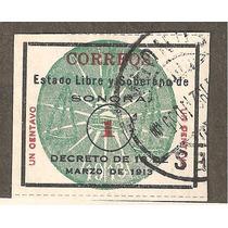 Estampilla Revolucionaria De Sonora, Sello Verde 1 Cts Usado