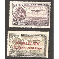 Mexico Escudo Y Biplano Años 20´s Aereo