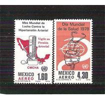 1978 Día Mundial Salud Hipertencìòn Arterial 2 Sellos Nuevo