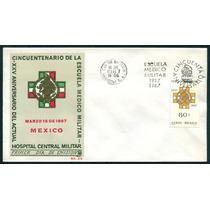 Mexico 1967 Escuela Med Militar Sobre Con Timbre Raro Mp Msi