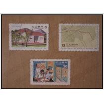 Set 3 Timbres Postal Aniversario Ataque Al Moncada - Cuba 68