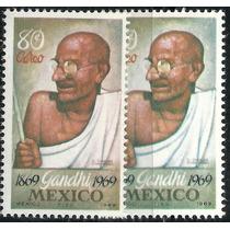 1969 Gandhi Líder De La India Variante De Color 2 Sellos Mnh