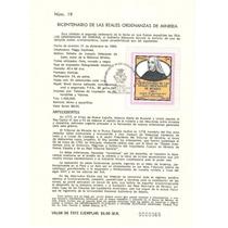 Hoja Carnet Primer Día Reales Ordenanzas D Mineria 1983