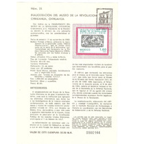 Hoja Carnet Primer Día Museo De La Revolución 1982