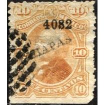 2721 Clasico Scott #119 Chiapas #4082 10c Usado 1882