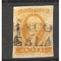 Primera Estampilla México 1856 Un Real Hidalgo Puebla
