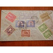 1934 Antigua Carta Con 8 Timbres De Guatemala A Alemania