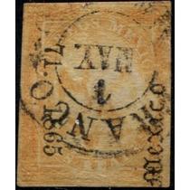 2393 Clasico Aguilita México#71. 1865 2 Reales Usado L H