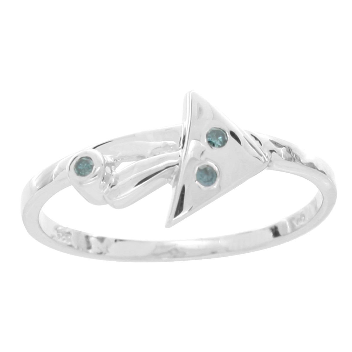 Anillo De Compromiso De Plata Y Platino Con Diamantes # 8