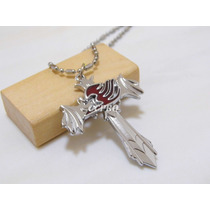 Anime Fairy Tail Collar De Cruz Color Plata