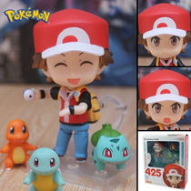 Figura Red / Ash Pokemon Entrenador Con Squirtle Charmander
