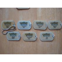 7 Llaveros Placas De Fierro De Pokemon Mide 5 Cms 30.00 C/u